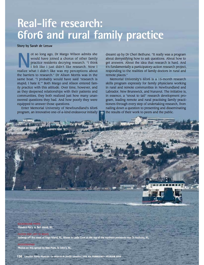 Real-life research: 6for6 and rural family practice