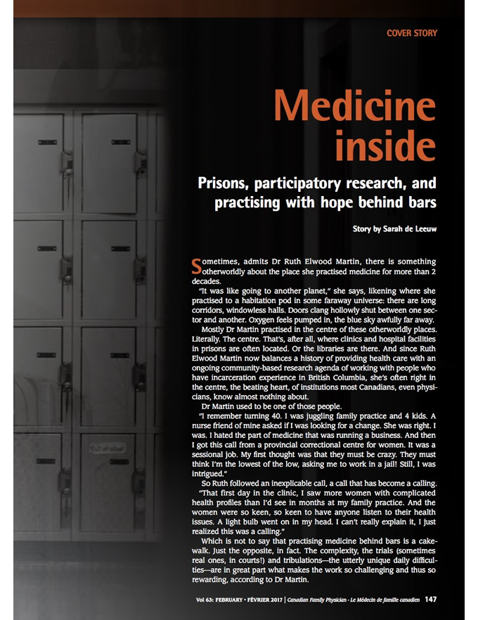 Medicine inside: Prisons, participatory research, and practising with hope behind bars