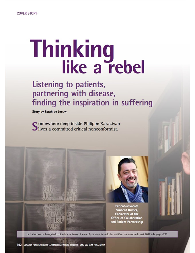 Thinking like a rebel: Listening to patients, partnering with disease, finding the inspiration in suffering