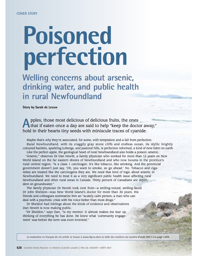 oisoned perfection: Welling concerns about arsenic, drinking water, and public health in rural Newfoundland