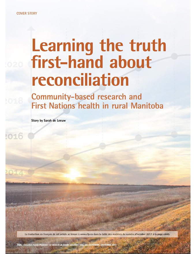 Learning the truth first-hand about reconciliation: Community-based research and First Nations health in rural Manitoba